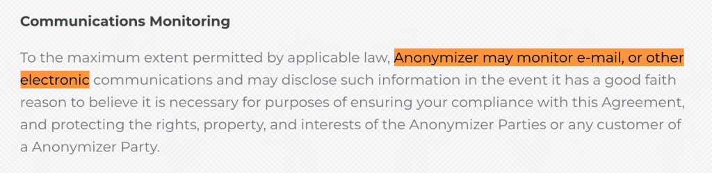Anonymizer logging policy