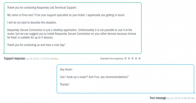 Kaspersky Secure Connection customer support reply