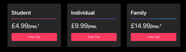 Apple music cost in United Kingdom