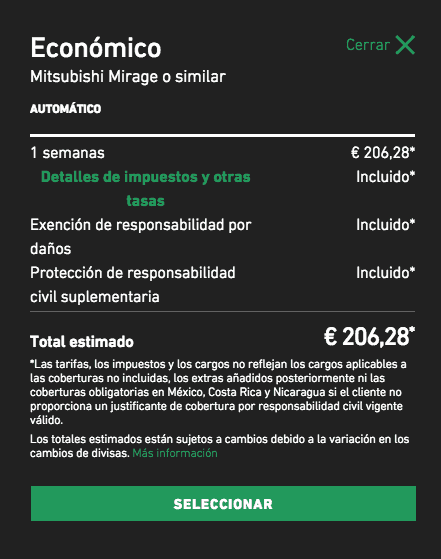 Rental car taxes in Spain