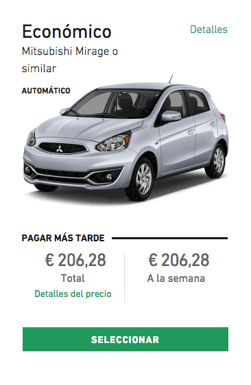 Rental car cost in Spain