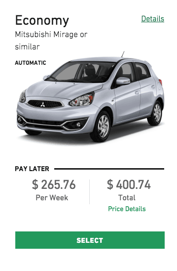 Rental car cost with US server