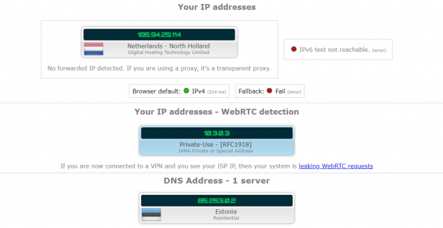 DNS leaks on VPN.ht
