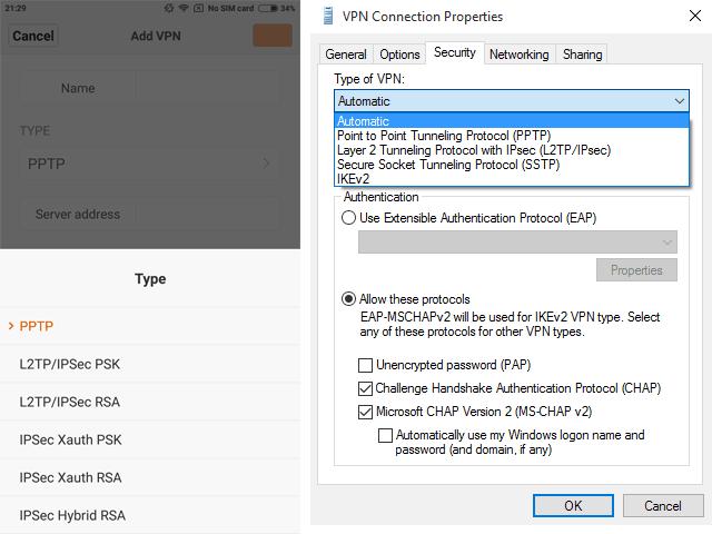 VPN connection properties