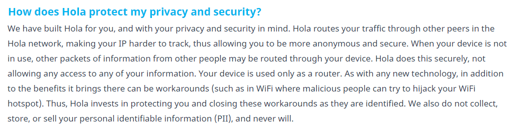 Hola Privacy and security policy