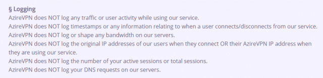 terms of service logging