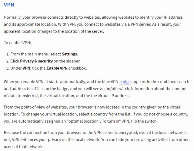 Opera VPN help page