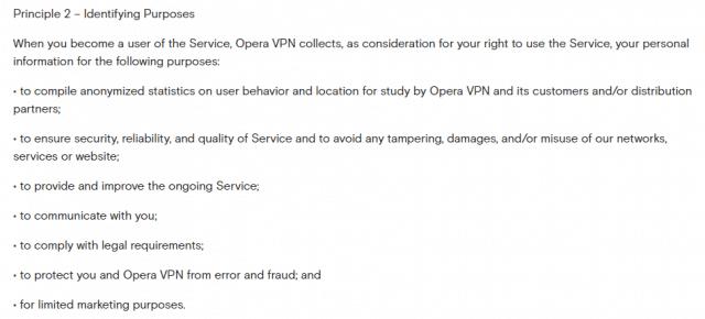 Opera VPN identifying purposes