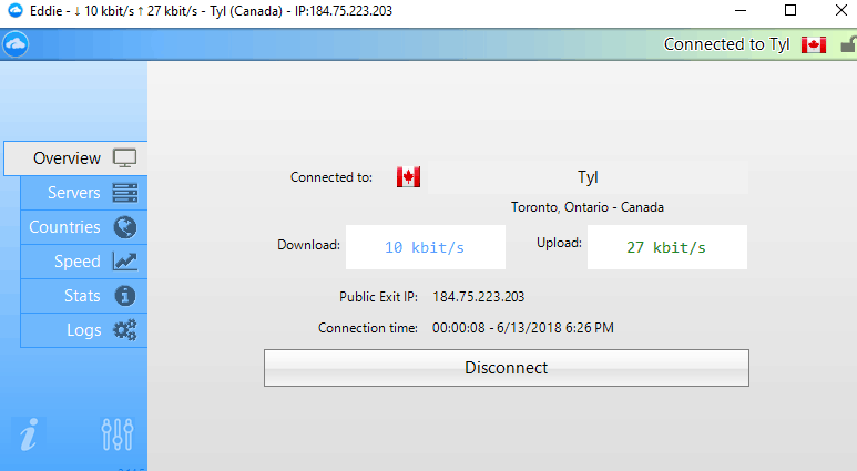 AirVPN Canada connection