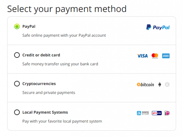 DotVPN payment methods