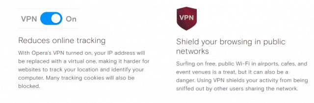 Opera VPN features