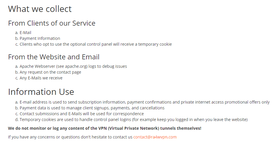 information collected by ra4w vpn