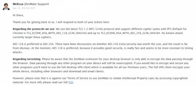 Zenmate support response