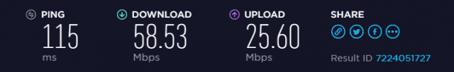 VPN.ac speed test results in US