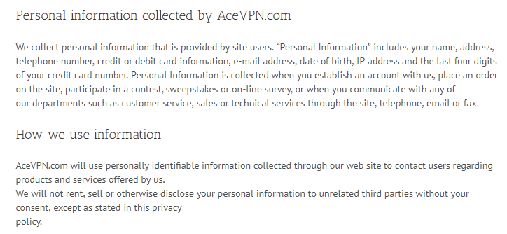 AceVPN personal info collected
