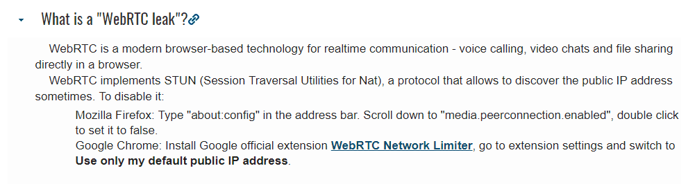 WebRTC leaks - none