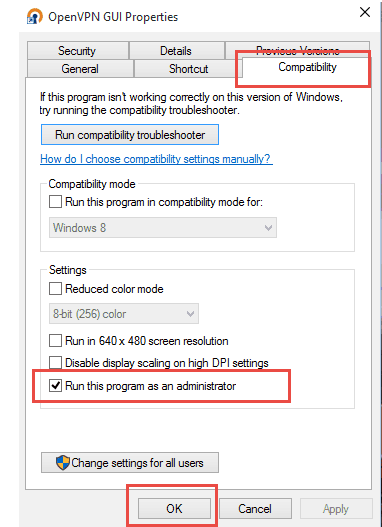 OpenVPN GUI Properties