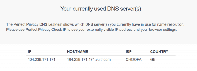 no DNS leak found