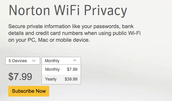 Norton VPN cost and plans