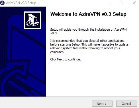 AzireVPN setup process