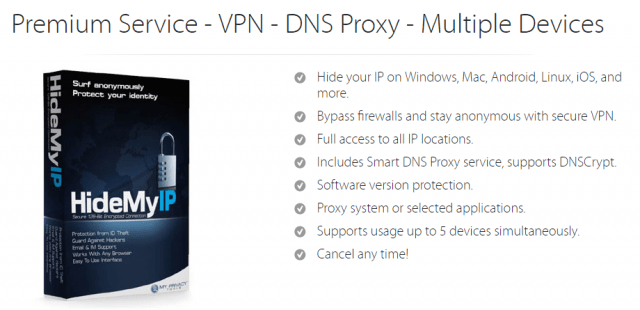 Hide My IP VPN premium service