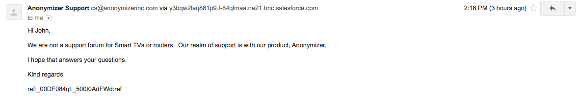 Anonymizer support