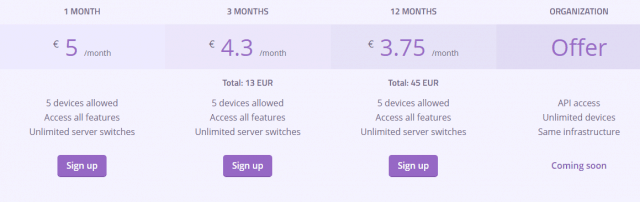AzireVPN costs and plans