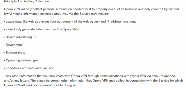 information collected by Opera VPN
