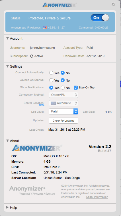 Limited anonymizer app
