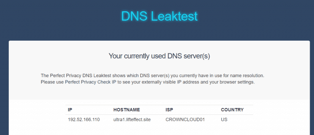 no DNS leaks found