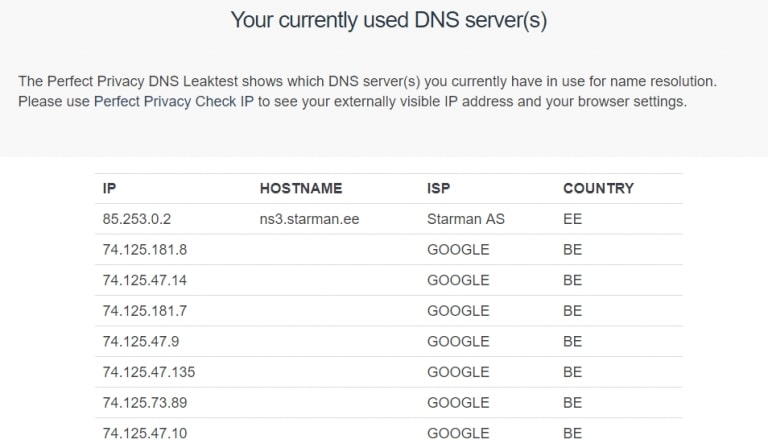 Ace currently used DNS server