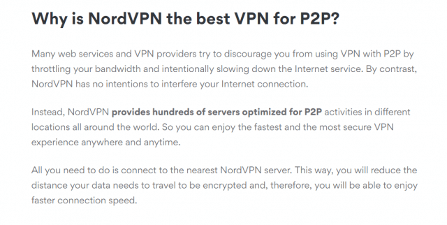 Why is NordVPN the best VPN for P2P
