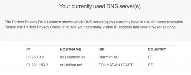 Azire currently used DNS server