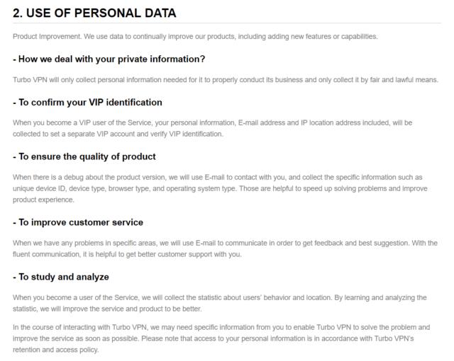TurboVPN-personal-data