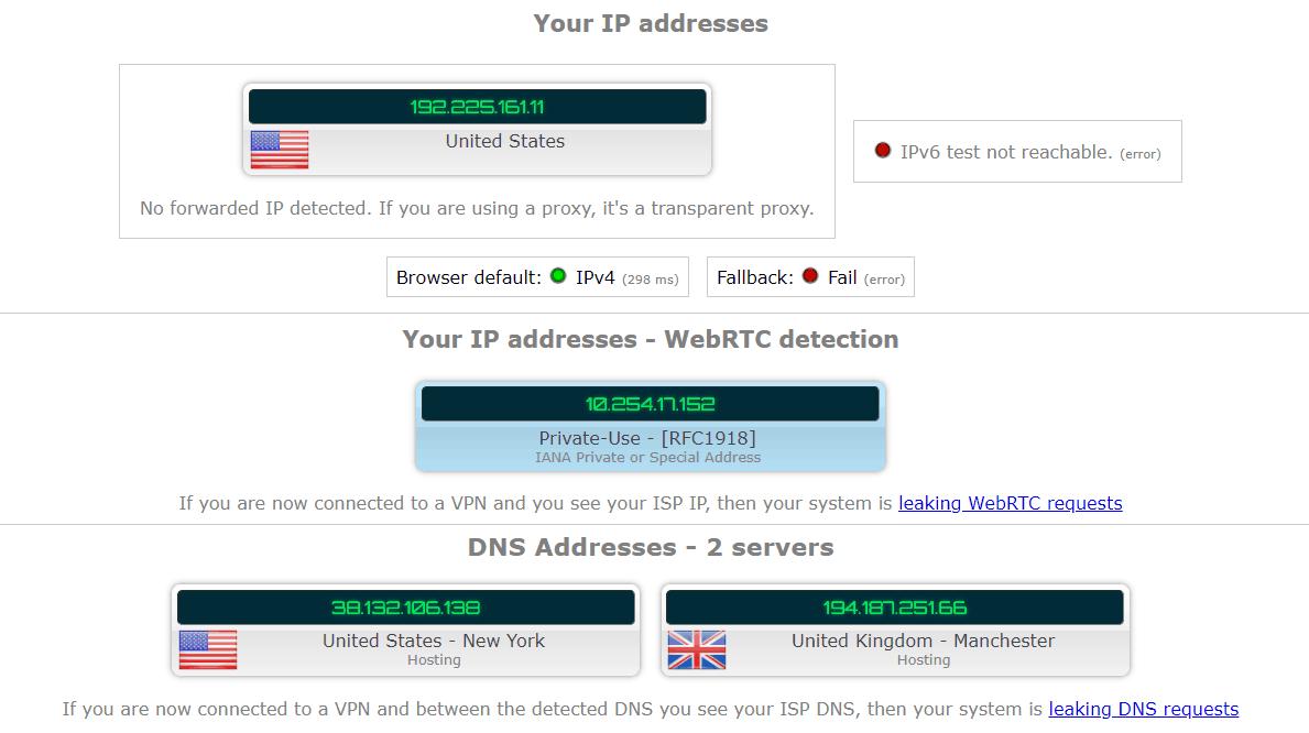 CyberGhost IP leak test