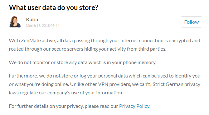 zenmate answer on what user data they store