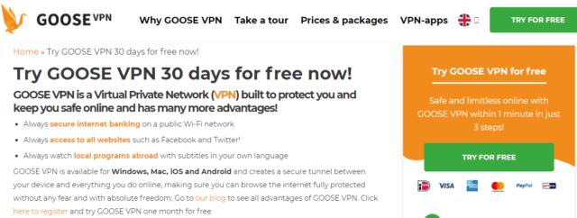 goosevpn free trial page
