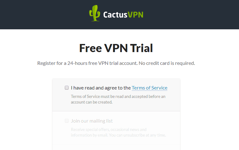 cactusvpn free trial page