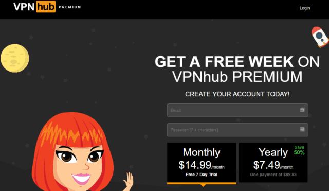 vpnhub free trial page