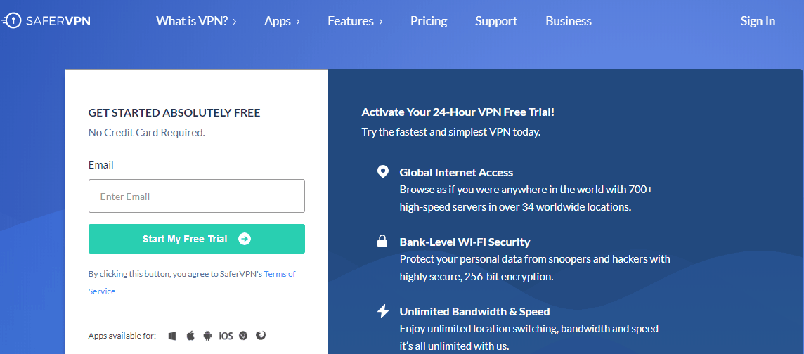 safervpn free trial page