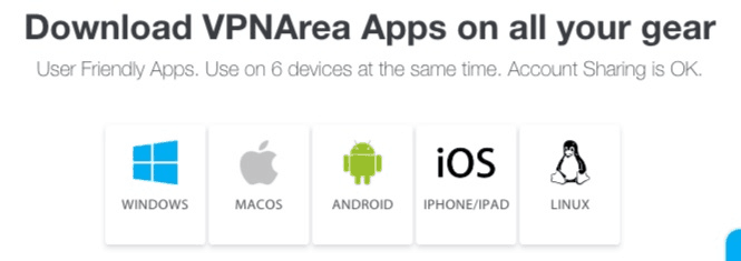VPNArea app options