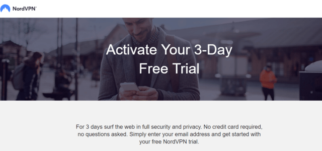 nordvpn free trial page