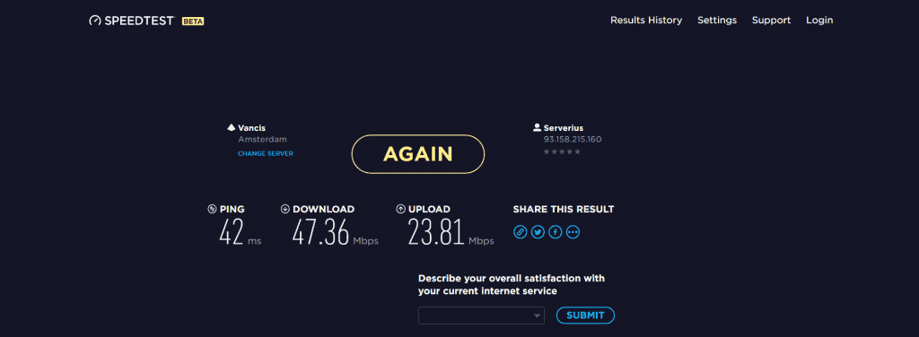 VPNarea speed test