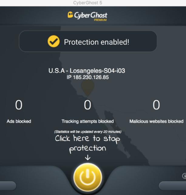 CyberGhost VPN of Macbook
