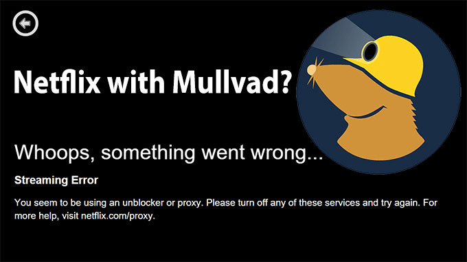 Netflix with Mullvad Streaming Error screen