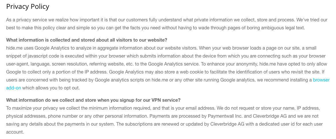 Hide.me privacy policy