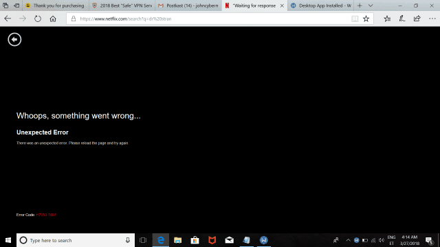 Netflix Unexpected Error screen