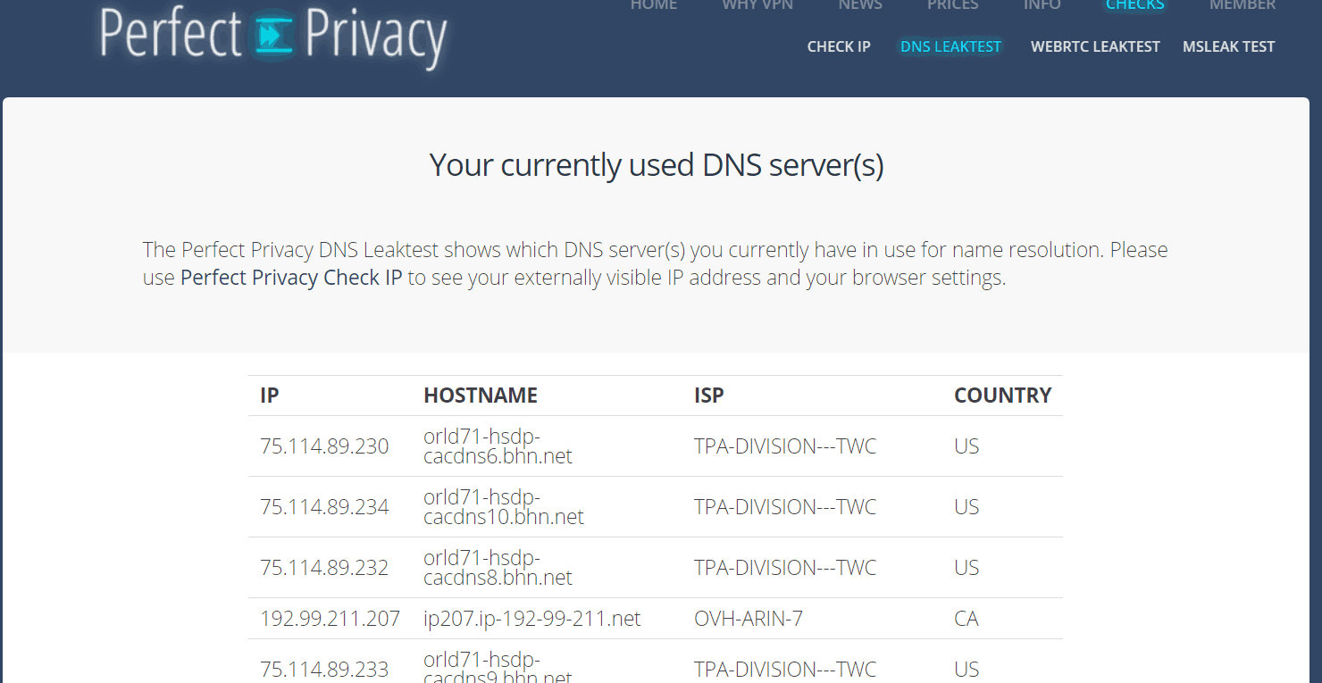 spyoff perfectprivacy dns leak test