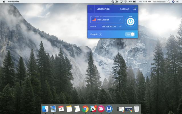 Windscribe on Macbook