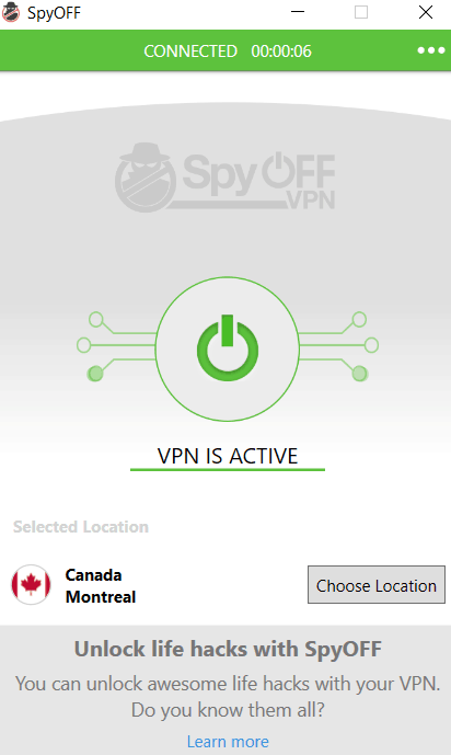 spyoff application vpn active screen